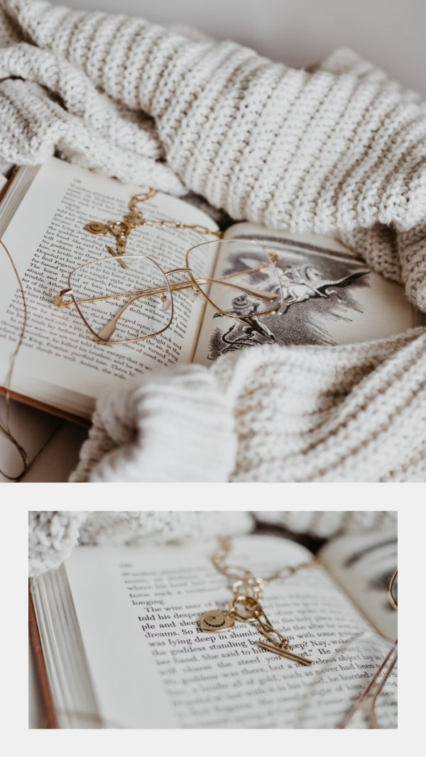Reading glasses on a book.